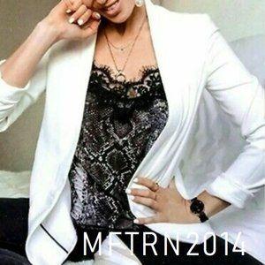 ZARA Snakeskin Print Top with Lace Trim